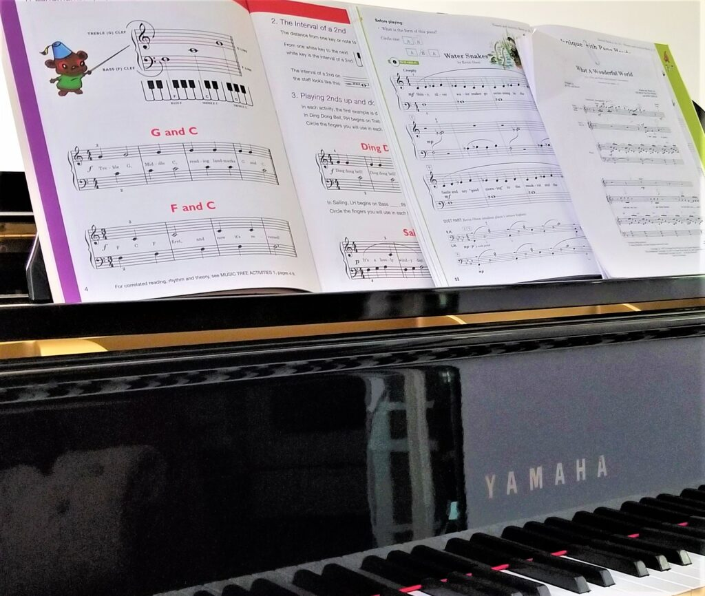 Music books and learning to play the piano